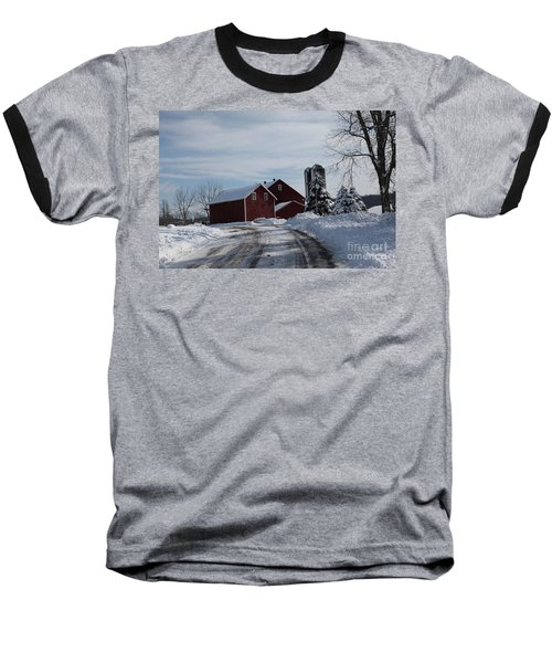 The Red Barn In The Snow Baseball T-Shirt