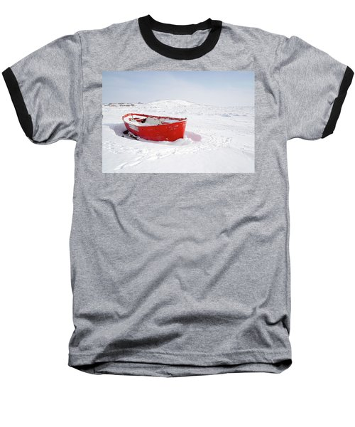 The Red Fishing Boat Baseball T-Shirt by Nick Mares