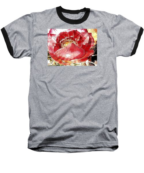 The Red Flower Blooms Baseball T-Shirt