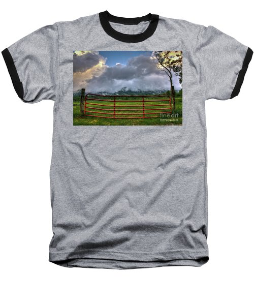 Baseball T-Shirt featuring the photograph The Red Gate by Douglas Stucky