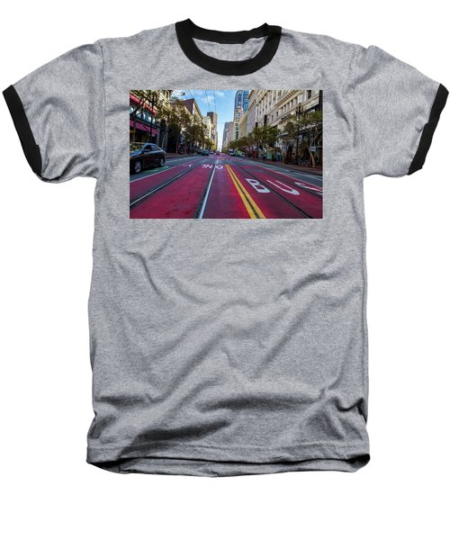 Baseball T-Shirt featuring the photograph The Red Path by Darcy Michaelchuk