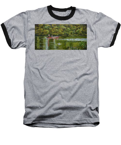 Baseball T-Shirt featuring the painting The Red Punt by Murray McLeod