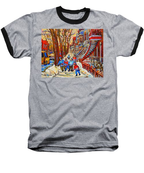 The Red Staircase Painting By Montreal Streetscene Artist Carole Spandau Baseball T-Shirt