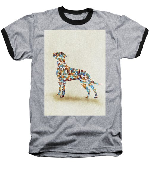 Baseball T-Shirt featuring the painting The Rhodesian Ridgeback Dog Watercolor Painting / Typographic Art by Inspirowl Design
