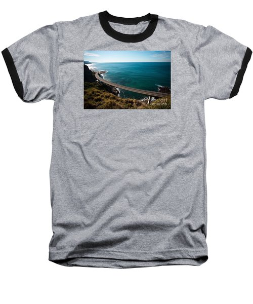 The Road Above The Sea Baseball T-Shirt by Bev Conover