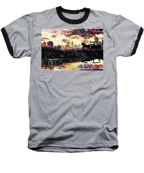 Baseball T-Shirt featuring the painting The Road To Home by Shana Rowe Jackson
