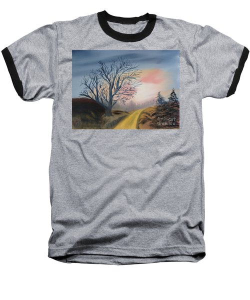 Baseball T-Shirt featuring the painting The Road To... by Rod Jellison