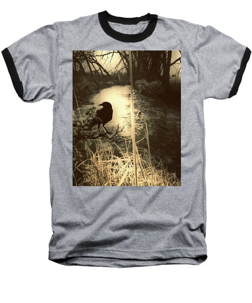 The Robin And The Wren Are Flown. Winter Crow Baseball T-Shirt