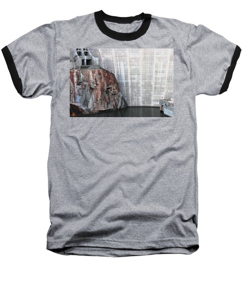 The Rock Behind The Dam Baseball T-Shirt by Natalie Ortiz