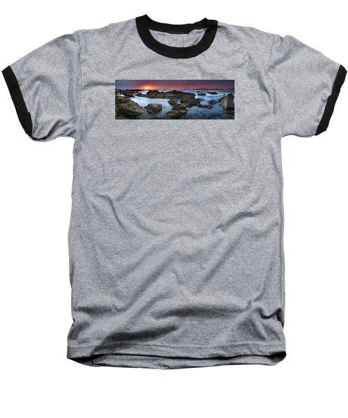The Rock Labyrinth Baseball T-Shirt by John Chivers