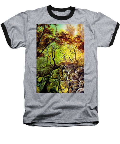 Baseball T-Shirt featuring the painting The Rocks In Starachowice by Henryk Gorecki
