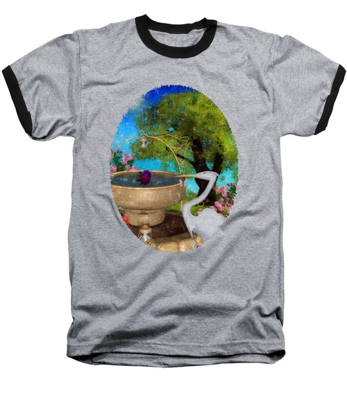 The Rose Path Egret Baseball T-Shirt by Sharon and Renee Lozen