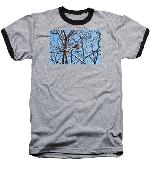The Ruffed Grouse Flying Through Trees And Branches Baseball T-Shirt