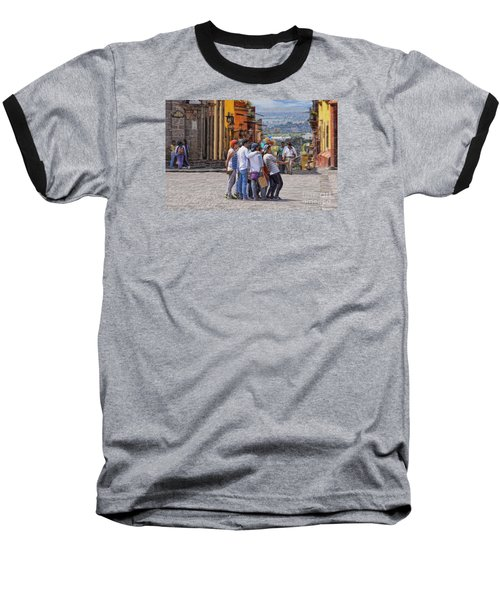 The San Miguel Selfie Baseball T-Shirt by John  Kolenberg