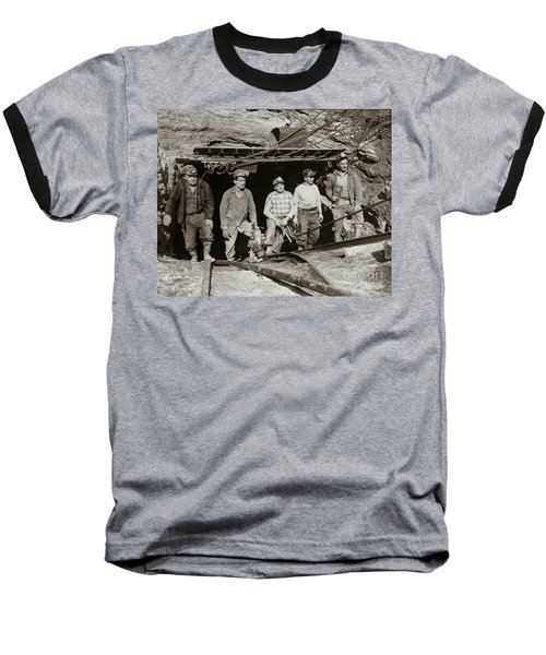 The Search And Retrieval Team After The Knox Mine Disaster Port Griffith Pa 1959 At Mine Entrance Baseball T-Shirt