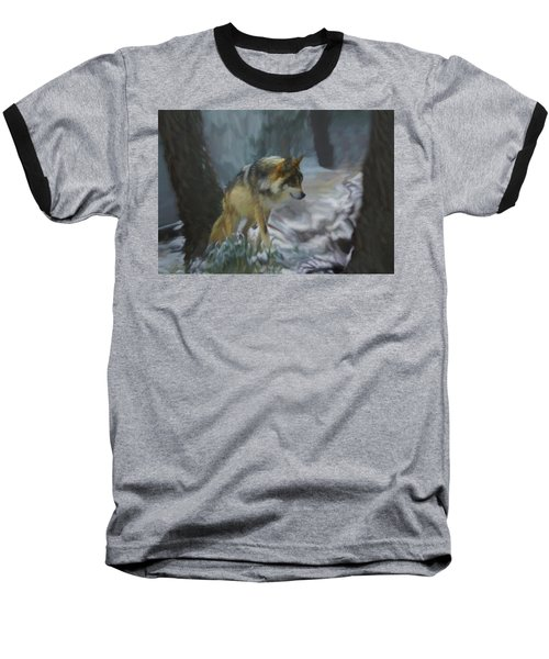 The Searching Wolf Baseball T-Shirt by Ernie Echols