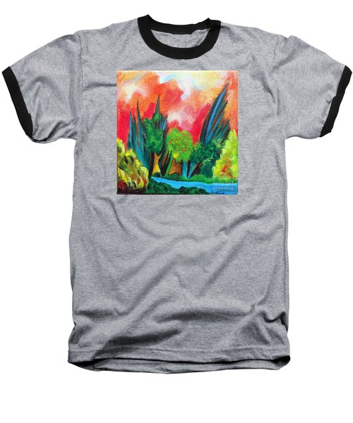Baseball T-Shirt featuring the painting The Secret Stream by Elizabeth Fontaine-Barr
