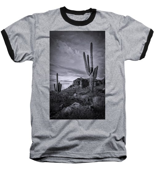 Baseball T-Shirt featuring the photograph The Sentinels Of The Supes In Black And White  by Saija Lehtonen