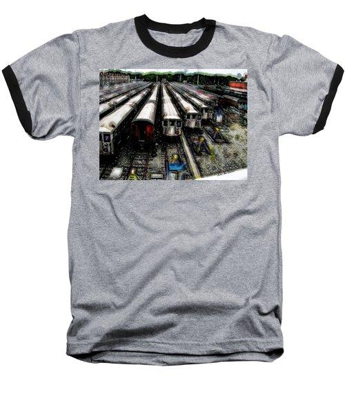 The Seven Train Yard Queens Ny Baseball T-Shirt by Iowan Stone-Flowers