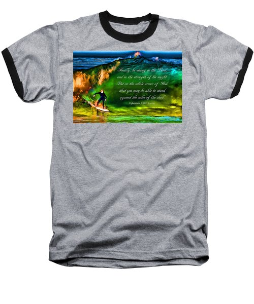 Baseball T-Shirt featuring the photograph The Shadow Within With Bible Verse by John A Rodriguez