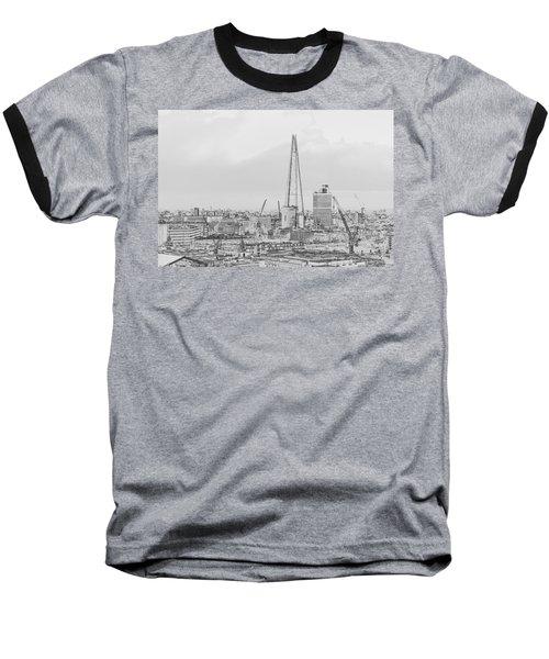 The Shard Outline Poster Bw Baseball T-Shirt