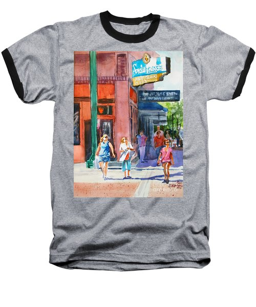 Baseball T-Shirt featuring the painting The Shoppers by Ron Stephens