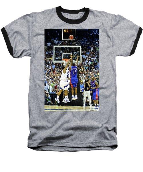 The Shot, 3.1 Seconds, Mario Chalmers Magic, Kansas Basketball 2008 Ncaa Championship Baseball T-Shirt by Thomas Pollart