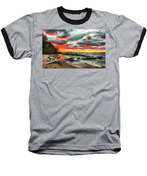 The Sky On Fire At Sunset On Lake Erie Baseball T-Shirt