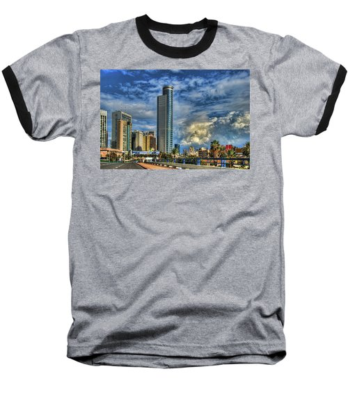 Baseball T-Shirt featuring the photograph The Skyscraper And Low Clouds Dance by Ron Shoshani