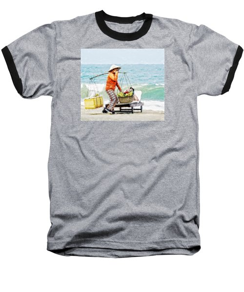 Baseball T-Shirt featuring the digital art The Smiling Vendor by Cameron Wood