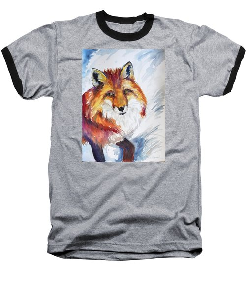 Baseball T-Shirt featuring the painting The Snow Fox by P Maure Bausch