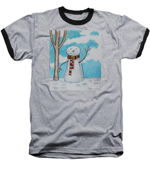 The Snowman Smile Baseball T-Shirt by Elizabeth Robinette Tyndall
