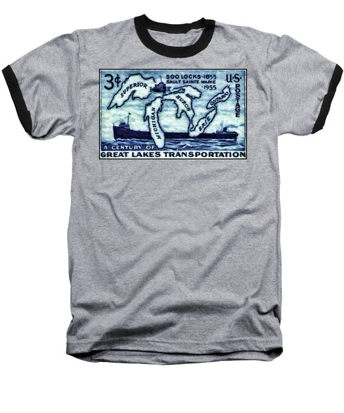 The Soo Locks Stamp Baseball T-Shirt by Lanjee Chee