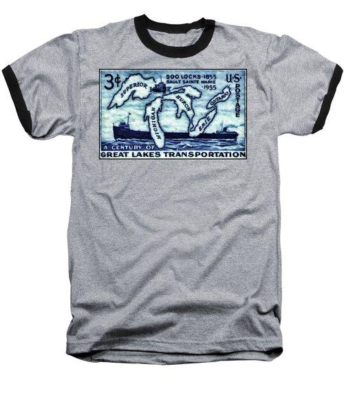 The Soo Locks Stamp Baseball T-Shirt