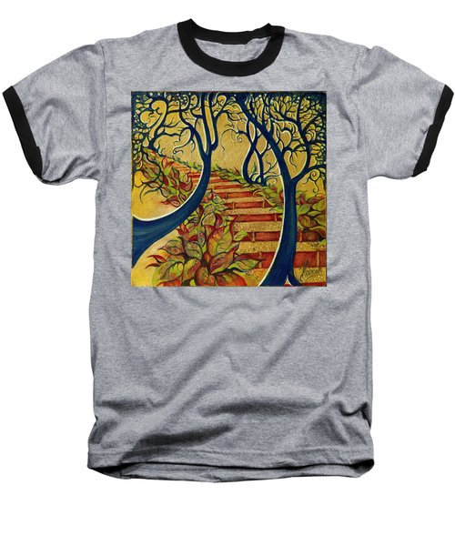 Baseball T-Shirt featuring the painting The Stairs To Now by Anna Ewa Miarczynska