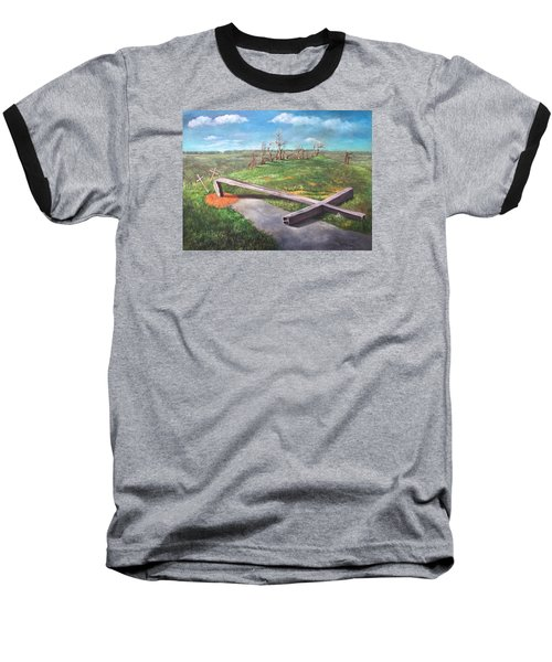 Baseball T-Shirt featuring the painting Millsfield Tennessee Steel Cross by Randol Burns