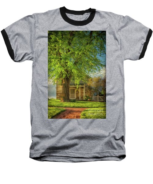 Baseball T-Shirt featuring the photograph The Stone Cottage On A Spring Evening by Lois Bryan