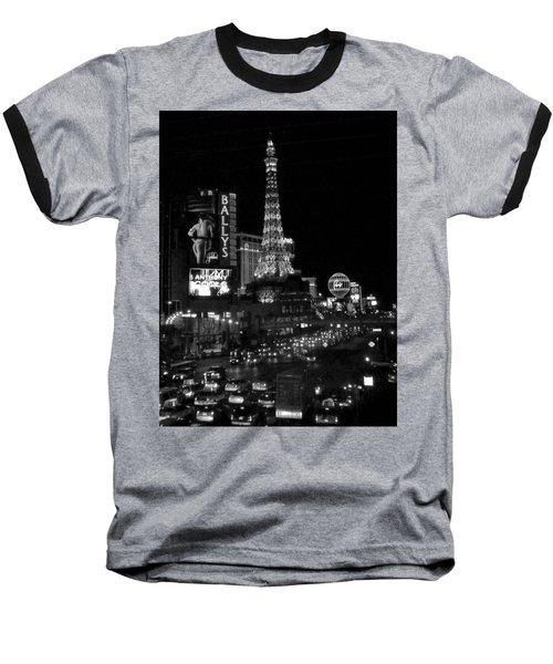 The Strip By Night B-w Baseball T-Shirt