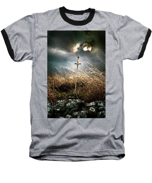 Sword Under A Full Moon Baseball T-Shirt