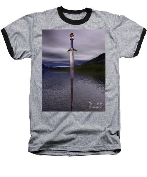 The Sword Excalibur On The Lake Baseball T-Shirt