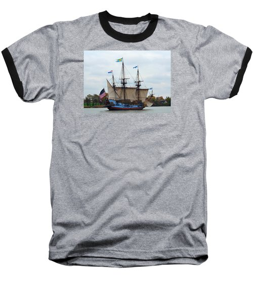 The Tall Ship Kalmar Nyckel Baseball T-Shirt by Richard Ortolano