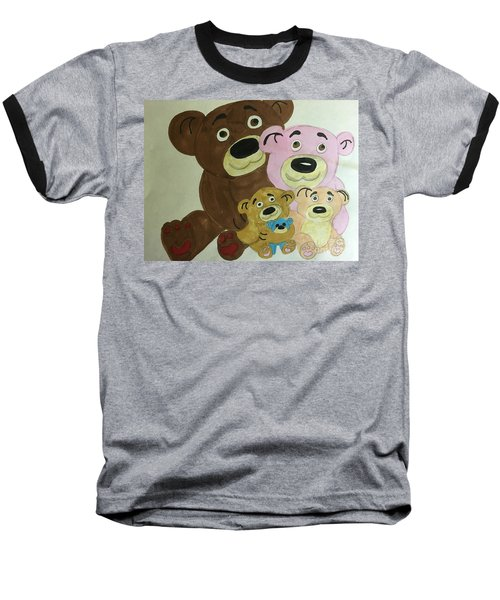 The Teddy Family  Baseball T-Shirt