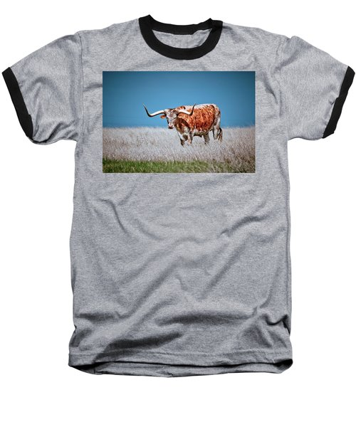 Baseball T-Shirt featuring the photograph The Texas Longhorn by Linda Unger