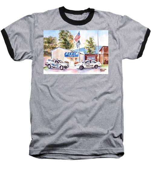 Baseball T-Shirt featuring the painting The Thin Blue Line by Kip DeVore