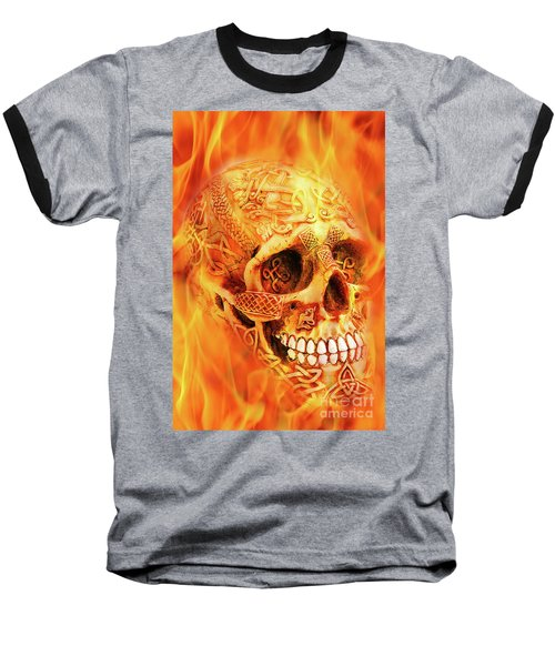 Flaming Skull Baseball T-Shirt