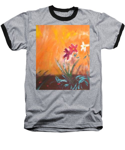 Baseball T-Shirt featuring the painting The Three Daisies by Winsome Gunning