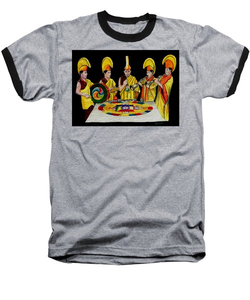 Baseball T-Shirt featuring the drawing The Tibetan Monks At Lilydale Assembly by Albert Puskaric