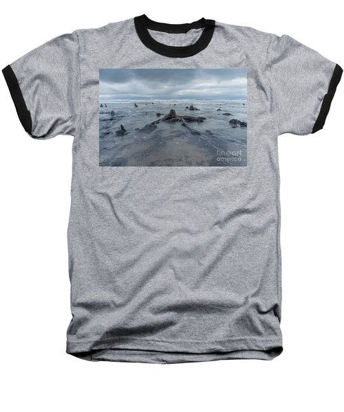 The Tide Comes In Over The Bronze Age Sunken Forest At Borth On The West Wales Coast Uk Baseball T-Shirt