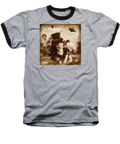 The Traveler Vintage Sepia Version Baseball T-Shirt by Alessandro Della Pietra