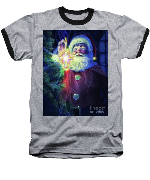 Baseball T-Shirt featuring the painting The True Spirit Of Christmas - Bright by Dave Luebbert